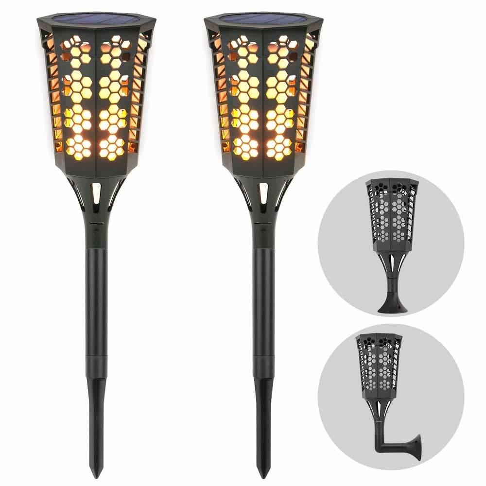 LED Solar Landscape Flame Dancing Torch Lights, 2 Pack, 3 Watts, Solar Powered Dusk To Dawn Operation, IP 65, ID-930