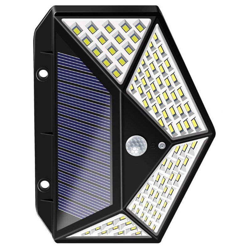LED Solar Wall Lamp With Motion Sensor, 270 Degree Beam Angle, Small Size With 100 High Output Dimmable LED's, IP 65, ID-944