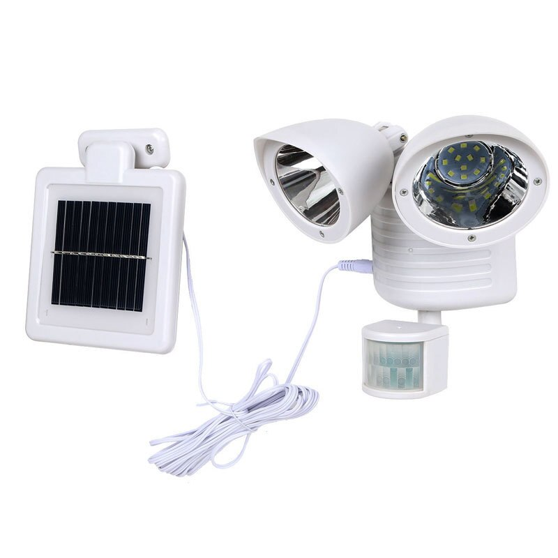 LED Solar Twin Head Outdoor Security Floodlight, 3 Watts, With Light Sensor, Solar Charger Motion Activated, IP65, ID-946
