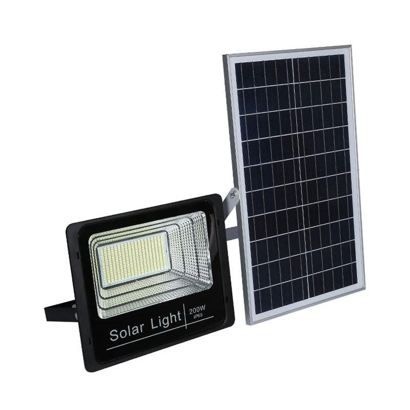 LED Solar Powered Flood Light, 200 Watt Massive High Output, Solar Panel, Auto Dusk To Dawn, IP67, ID-957