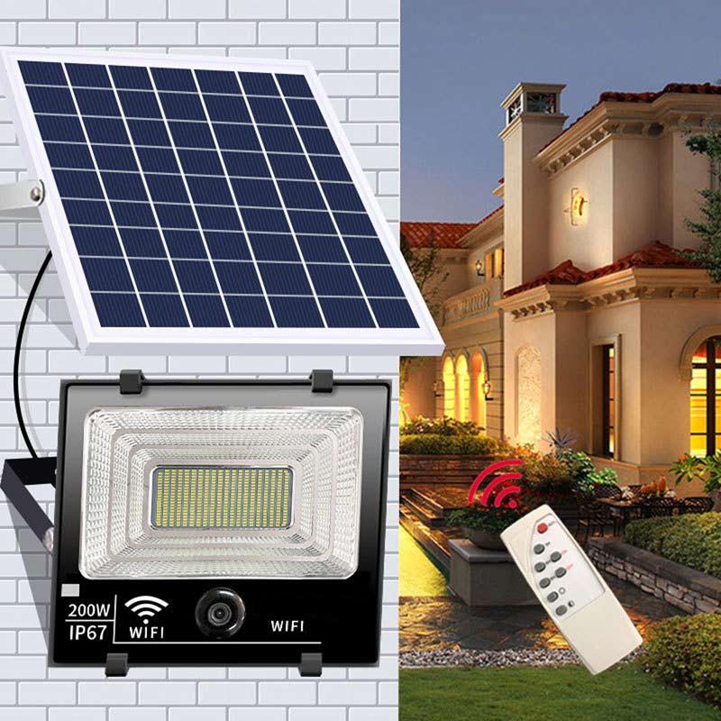 200 Watt LED Solar Powered Security Flood Light With 2 million Lens Camera, Intelligent Light Control, Motion Sensor, Remote Control, ID-1010