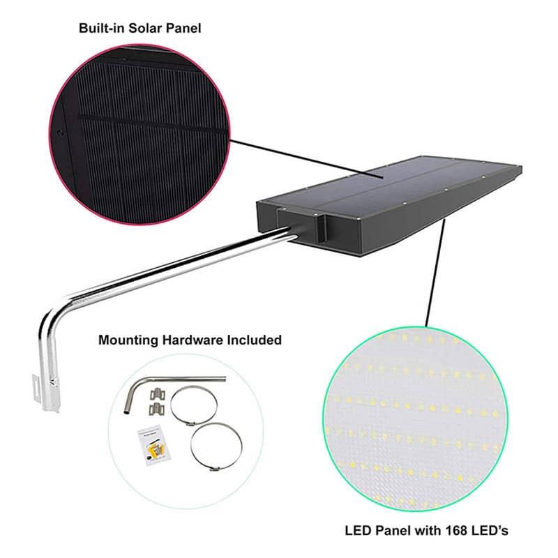 Solar Powered LED Motion Sensor Light, High Quality, High Power, 15 Watt, 2100 Lumens, 168 LED's, IP65, ID-952