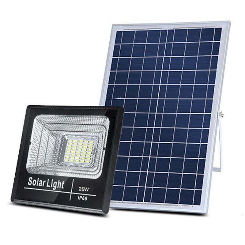 LED Solar Flood Light, High Output 25 Watt, With Solar Panel, Dimmable, Timer Remote Control, IP 67, ID-953
