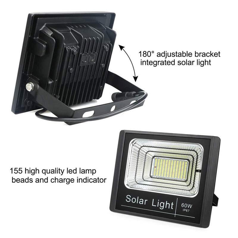 LED 60 Watt Solar Powered Flood Light, High Output, 2,700 Lumens With Solar Panel, Dimmable Dusk To Dawn On Off Sensor, IP67, ID-955