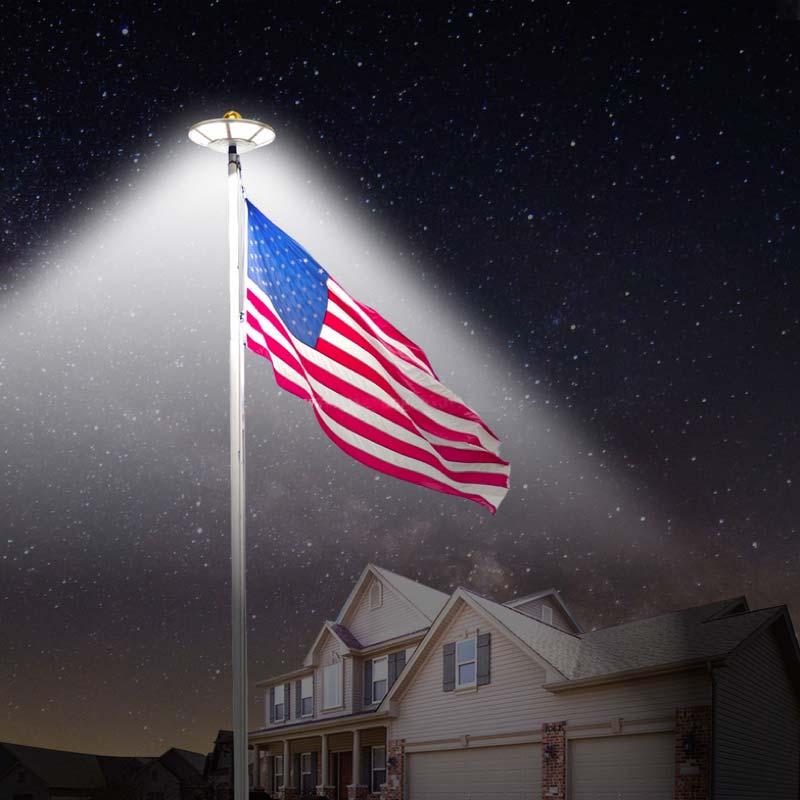 LED Solar Powered Flag Pole Down Light, High Output, Massive 800 Lumens, 120 Ultra Bright SMD LEDs, ID-1030