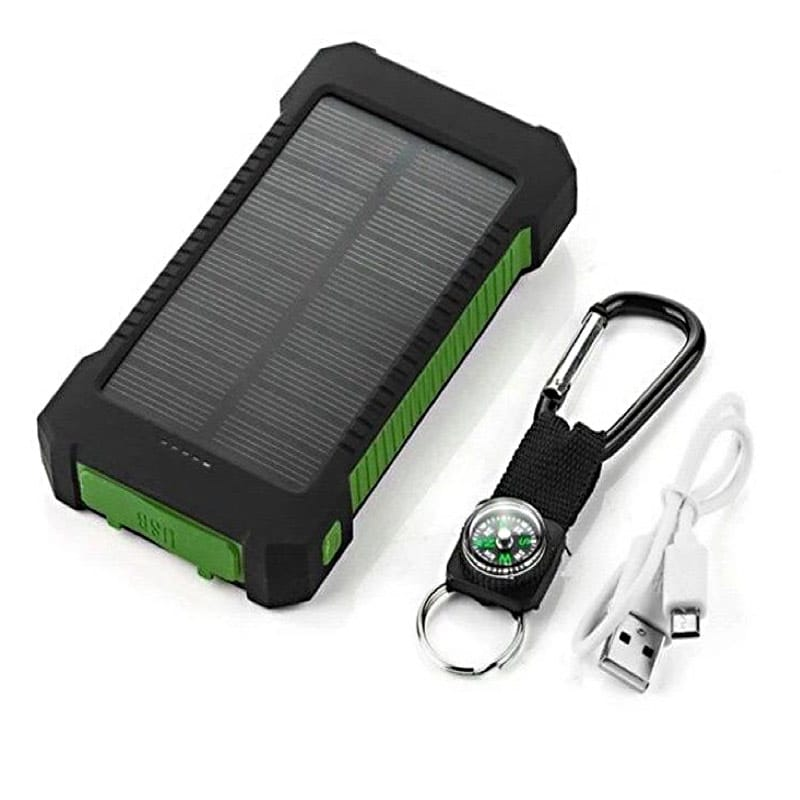 Solar Powered Device Charger With Flashlight, Dual Charging Ports, 20,000 mah, Compass Key Chain, Waterproof, Drop Resistant, ID-1053