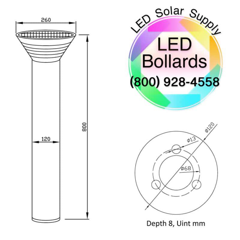 Bollard Solar Powered LED Fixture, Comparable to 50 Watt Halogen, 385 Lumens, ID-1096