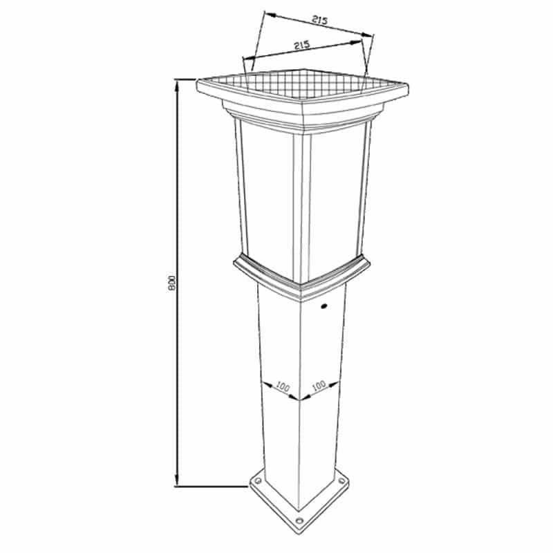 Bollard Solar Powered LED Fixture, Comparable To 50 Watt Halogen, 330 Lumens, ID-1098