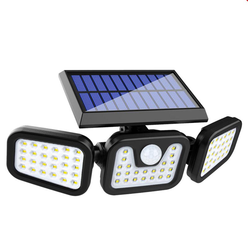 Solar LED Motion Sensor Wall Lamp, 360 Degree Rotatable Design With Three Heads, 7 Watts, 1600 Lumen, IP65