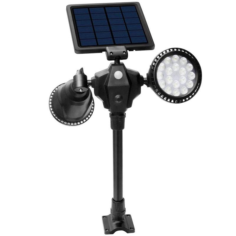 Solar LED, Dual Adjustable Head, 7 Watt, 36 High Output LEDs, IP65, 4 Mode, Landscaping, Security Spotlight