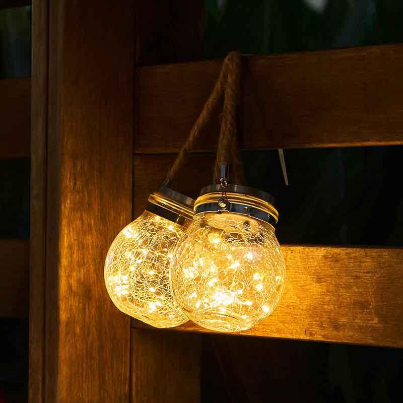 LED Solar Powered Glass Bottle Light, Waterproof,  Outdoor, Garden Decoration Light, 20 LED Copper Light String, 2 Pack