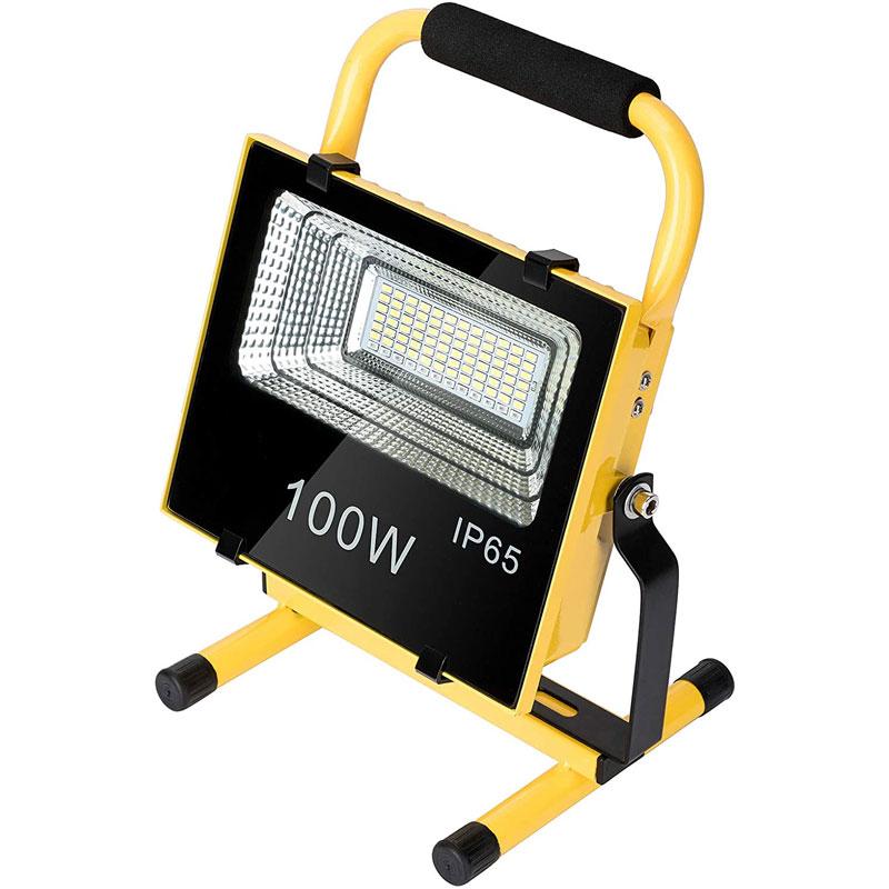 LED Solar Powered 100 Watt Portable Outdoor Work Light, Flood Light, 9000 Lumen, 3 Modes