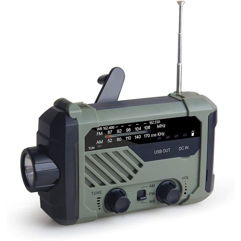 LED Solar Emergency Radio, NOAA Weather 5 Way Powered Solar Crank Radio Reciever