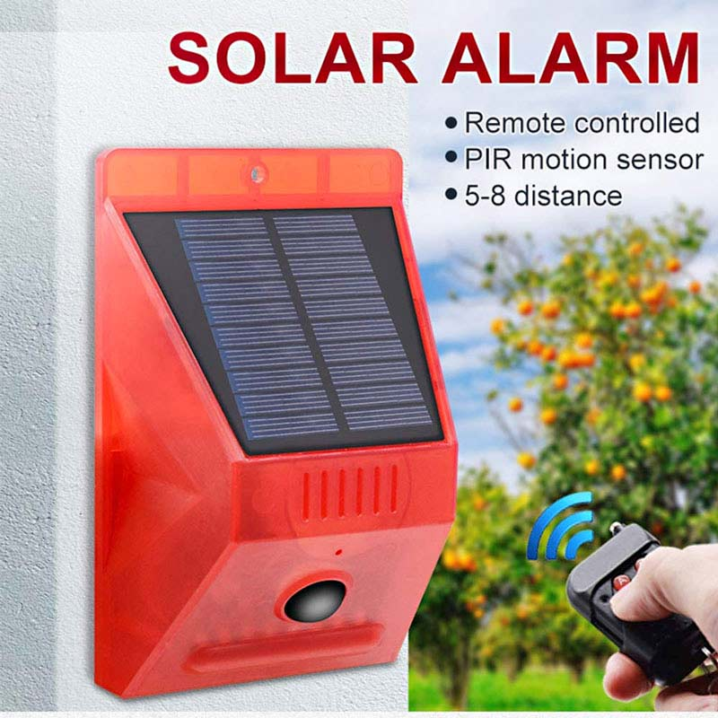 Solar LED Alarm Security Light, Motion Detector, 129db Sound Siren, IP65 Rated, With Remote